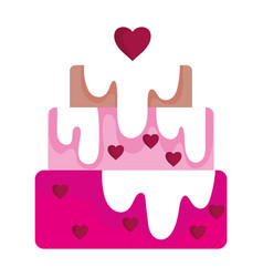 Happy valentines day melted cake hearts love vector