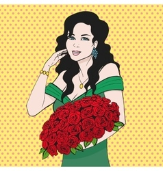 Happy woman holding a rose flower hands vector