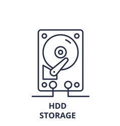 hdd storage line icon concept hdd storage vector image