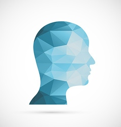Head icon Blue colors of abstract triangles vector image