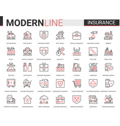 Insurance flat thin red black line icon vector