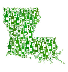 Louisiana state map composition of wine bottles vector