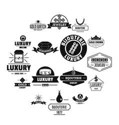 Luxury logo icons set simple style vector