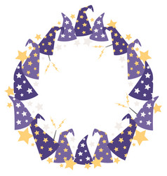 magical starry wizard hats circle wreath vector image