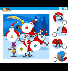 match pieces game with christmas characters vector image