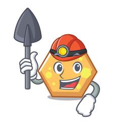 Miner hexagon mascot cartoon style vector