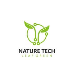 Organic farming technology logo design - eco vector