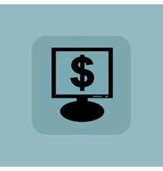 Pale blue dollar monitor icon vector
