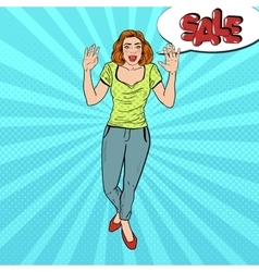 Pop Art Woman with Comic Speech Bubble Sale vector image