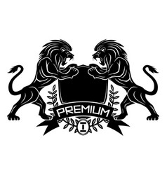 premium sign with lions and shield vector image