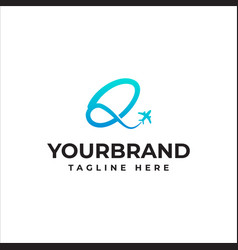 Q letter arrow airplane logo inspiration vector