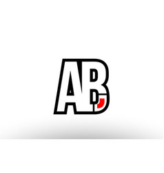 Red and black alphabet letter ab a b logo vector
