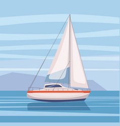 Sailing boat floating on water surface vector