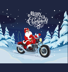 santa riding motorbike to deliver christmas gifts vector image