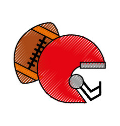 Scribble football helmet and ball vector
