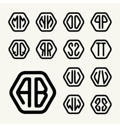 Set 2 create monograms two letters in a hexagon vector image
