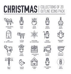 Set christmas attributes and decoration icons vector