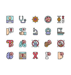 Set human cancer flat color line icons vector