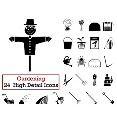 Set of 24 Gardening Icons vector