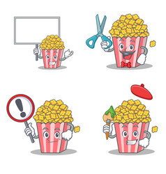 Set of popcorn character with board barber sign vector