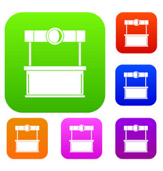 shopping counter set color collection vector image
