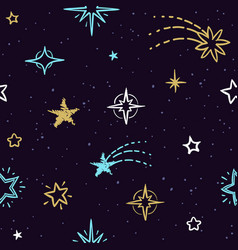 Sky seamless pattern with doodle stars vector