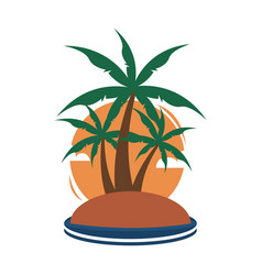 small island tropical palm trees travel island vector image