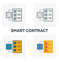 smart contract icon set four elements in diferent vector image