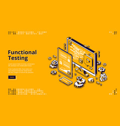Software testing isometric banner functional test vector