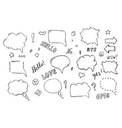 speech hand drawn bubbles set vector image