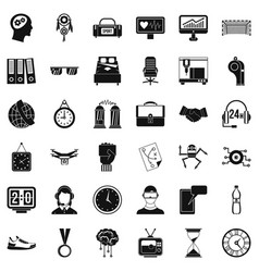 Sport clock icons set simple style vector
