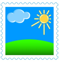 Sun and clouds on stamp vector image