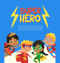 Superhero children friend costume banner template vector