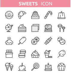 sweet dessert line icons vector image