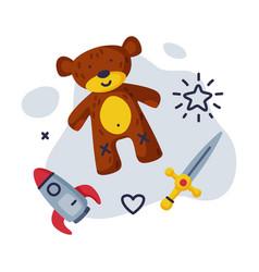 sword teddy bear rocket batoys set kids game vector image