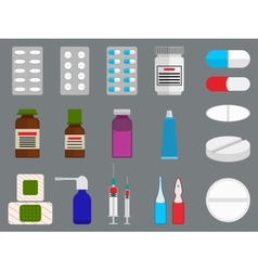 Tablets and medicine flat icons set vector image