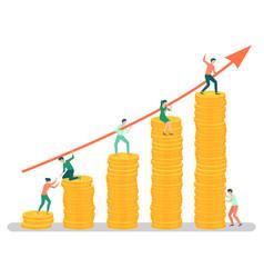 Team business workers teamwork gaining money vector