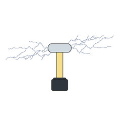 Tesla coil isolated in flat electrical vector