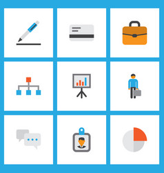 trade icons flat style set with contract vector image