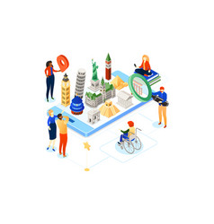 Travel around the world - colorful isometric vector