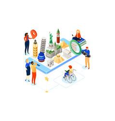 travel around world - colorful isometric vector image