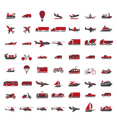 Vehicles of all kinds big set in red vector