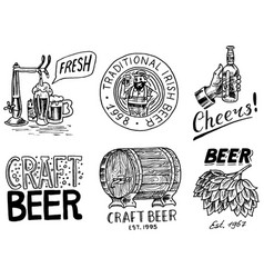 vintage beer badge set alcoholic label vector image