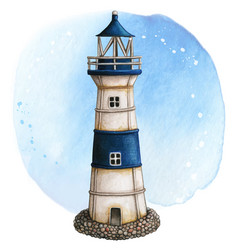 watercolor hand painted lighthouse rusty white vector image