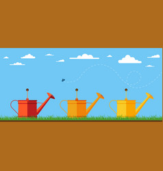 watering cans vector image