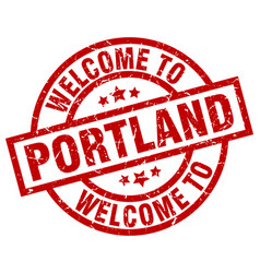 Welcome to portland red stamp vector
