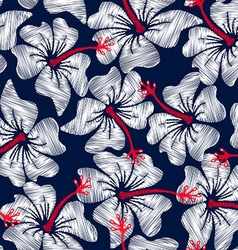 White hibiscus tropical embroidery floral seamless vector
