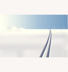 winter landscape frozen ski tracks vector image