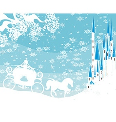 Winter landscape with castle and carriage vector image