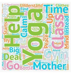 Yoga for mothers text background wordcloud concept vector